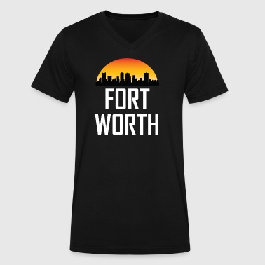 Sunset Skyline Silhouette of Fort Worth TX - Men's V-Neck T-Shirt by Canvas