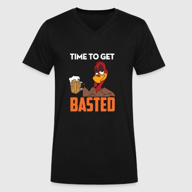 Time To Get Basted shirt -Funny Thanksgiving shirt - Men's V-Neck T-Shirt by Canvas