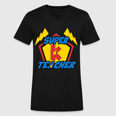 Super Teacher T-Shirt - Kindergarten Teacher - Men's V-Neck T-Shirt by Canvas