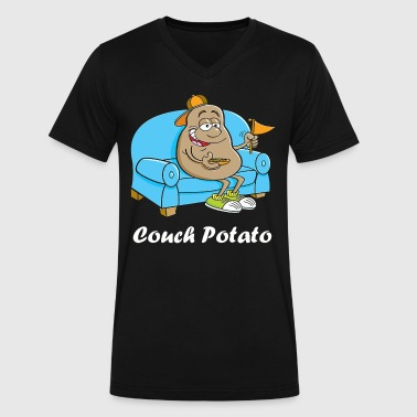 Couch Potato - Men's V-Neck T-Shirt by Canvas