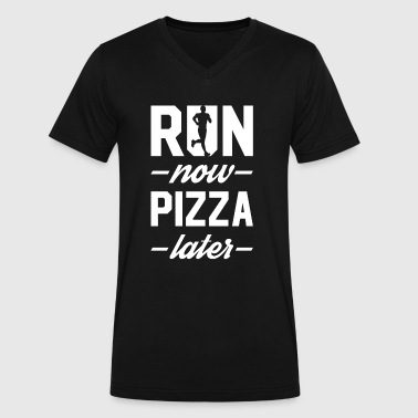 Run Now Pizza Later - Men's V-Neck T-Shirt by Canvas