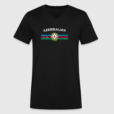 Azerbaijani Flag Shirt - Azerbaijani Emblem & Azer - Men's V-Neck T-Shirt by Canvas