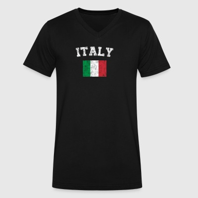 Italian Flag Shirt - Vintage Italy T-Shirt - Men's V-Neck T-Shirt by Canvas