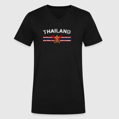 Thai Flag Shirt - Thai Emblem & Thailand Flag Shir - Men's V-Neck T-Shirt by Canvas