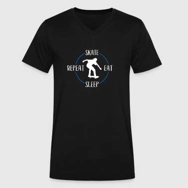Skate, Eat, Sleep, Repeat - Men's V-Neck T-Shirt by Canvas