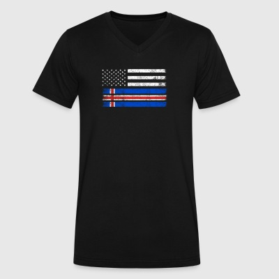 Icelander American Flag - USA Iceland Shirt - Men's V-Neck T-Shirt by Canvas