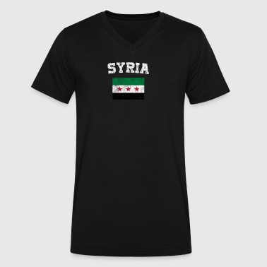 Syrian Flag Shirt - Vintage Syria T-Shirt - Men's V-Neck T-Shirt by Canvas