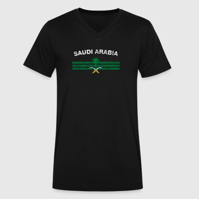 Saudi or Saudi Arabian Flag Shirt - Saudi or Saudi - Men's V-Neck T-Shirt by Canvas