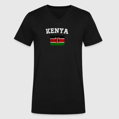 Kenyan Flag Shirt - Vintage Kenya T-Shirt - Men's V-Neck T-Shirt by Canvas