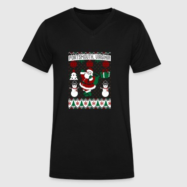 Christmas Ugly Sweater Portsmouth Virginia - Men's V-Neck T-Shirt by Canvas