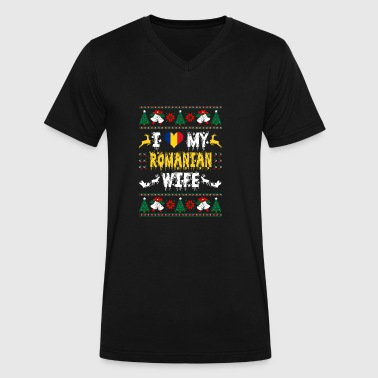 I Love My Romanian Wife Ugly Christmas Sweater - Men's V-Neck T-Shirt by Canvas