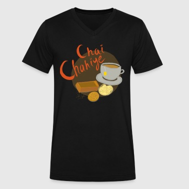 Chai Chahiye - Men's V-Neck T-Shirt by Canvas