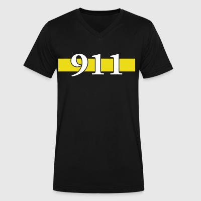 Police Dispatcher Thin Gold Line - Men's V-Neck T-Shirt by Canvas