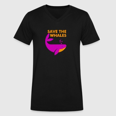 Save the Whales - Men's V-Neck T-Shirt by Canvas