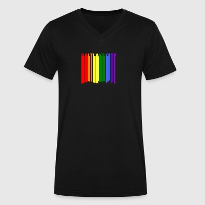 Salt Lake City Skyline Rainbow LGBT Gay Pride - Men's V-Neck T-Shirt by Canvas