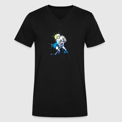 icehockey hockey player ice splash team play off l - Men's V-Neck T-Shirt by Canvas