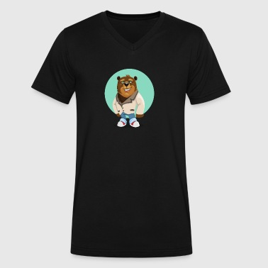 Friendly funny Bear smiling Boss - Men's V-Neck T-Shirt by Canvas