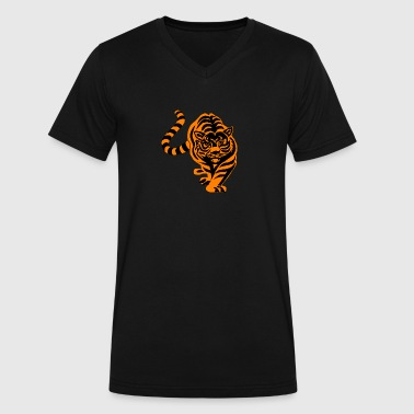 bengal tiger cat head sabre toothed97 - Men's V-Neck T-Shirt by Canvas