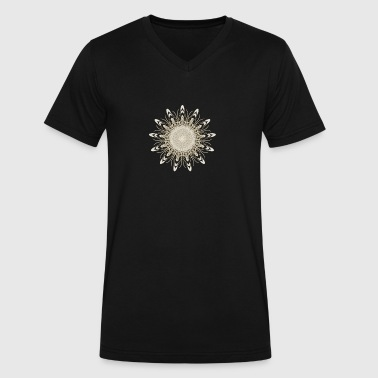 Flower Fractal Mandala Gold - Men's V-Neck T-Shirt by Canvas