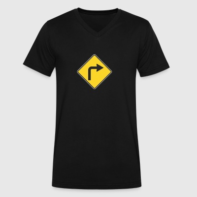 Road_Sign_to_right_yellow - Men's V-Neck T-Shirt by Canvas