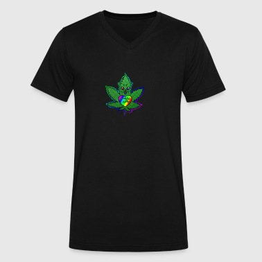 Human Catnip Leaf - Men's V-Neck T-Shirt by Canvas