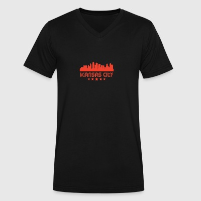 Retro Kansas City Skyline - Men's V-Neck T-Shirt by Canvas