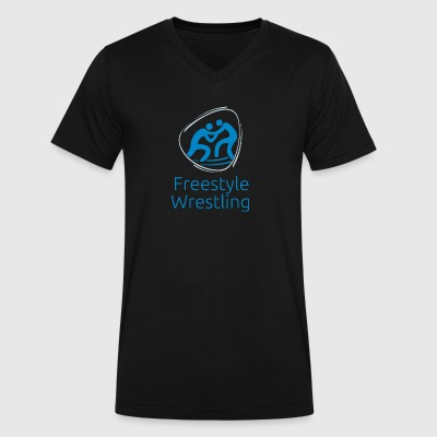 Freestyle_wrestling_blue - Men's V-Neck T-Shirt by Canvas