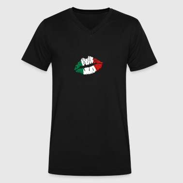 Italy flag lips - Men's V-Neck T-Shirt by Canvas
