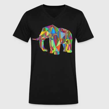 low poly rainbow elephant - Men's V-Neck T-Shirt by Canvas