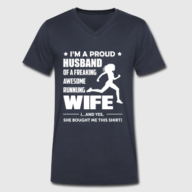I'm a Proud Husband Of A Freaking Awesome Runner - Men's V-Neck T-Shirt by Canvas