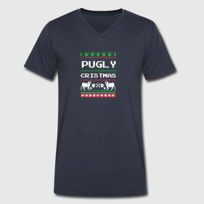 Pugly Christmas - Men's V-Neck T-Shirt by Canvas
