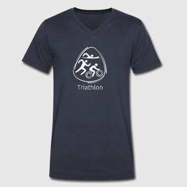 Triathlon_white - Men's V-Neck T-Shirt by Canvas