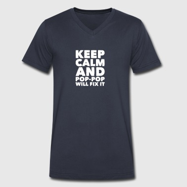 Keep calm and pop pop will fix it - Men's V-Neck T-Shirt by Canvas