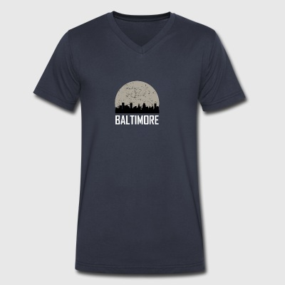 Baltimore Full Moon Skyline - Men's V-Neck T-Shirt by Canvas