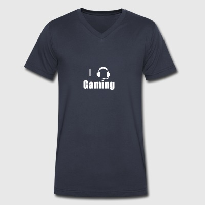 I Love,Heart Gaming Headset Cool Video Game - Men's V-Neck T-Shirt by Canvas