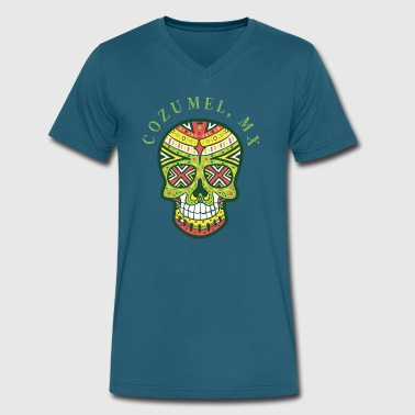 Cozumel Mexico Cozumel Mexico Sugar Skull Souvenir Design - Men's V-Neck T-Shirt by Canvas