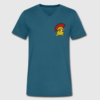 Trojan Mascot - Men's V-Neck T-Shirt by Canvas