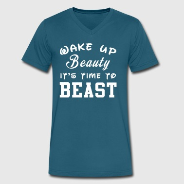 WAKE UP BEAUTY IT S TIME TO BEAST - Men's V-Neck T-Shirt by Canvas