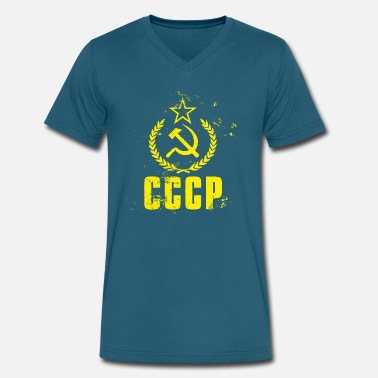 Cccp Hammer And Sickle Used CCCP Hammer Sickle - Men's V-Neck T-Shirt by Canvas