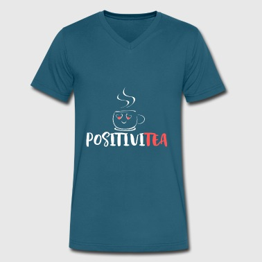 Good Mood Slogans Funny Motivational positivitea, think positive, motivation, tea - Men's V-Neck T-Shirt by Canvas