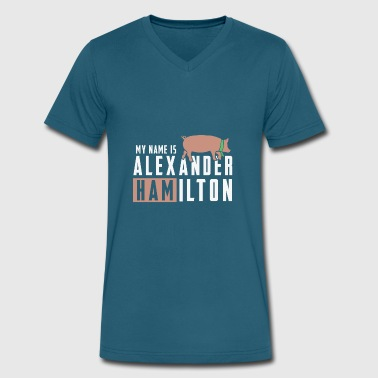Hamilton Name Funny hamilton shirt - Men's V-Neck T-Shirt by Canvas