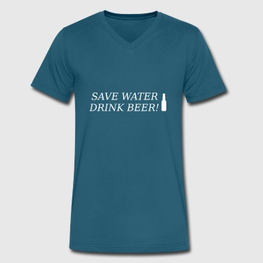 save water drink beer present - Men's V-Neck T-Shirt by Canvas