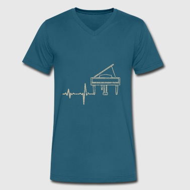 Amplitude gift heartbeat piano - Men's V-Neck T-Shirt by Canvas