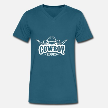 Rodeo Cartoon Cowboy Rodeo Wild West - Men's V-Neck T-Shirt by Canvas