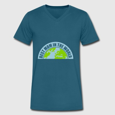Day 9 Logo half earth planet text sticker sticker button circ - Men's V-Neck T-Shirt by Canvas