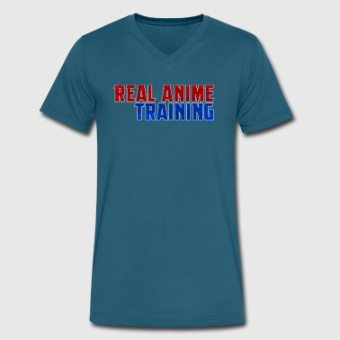 Real Anime Training - Men's V-Neck T-Shirt by Canvas