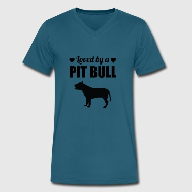 Loved By A Pit Bull - Men's V-Neck T-Shirt by Canvas