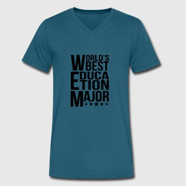 World's Best Education Major - Men's V-Neck T-Shirt by Canvas