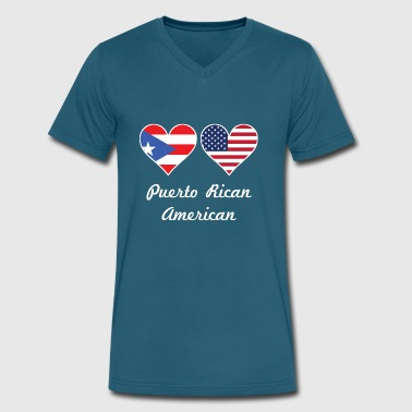 Puerto Rican American Flag Hearts - Men's V-Neck T-Shirt by Canvas