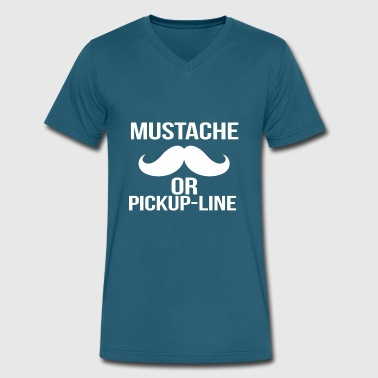 Pickup Line mustache or pickup line - Men's V-Neck T-Shirt by Canvas